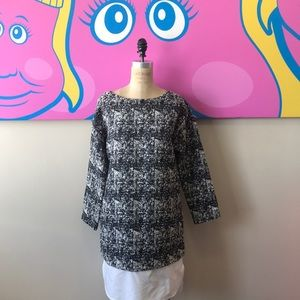 Banana Republic Black White Tweed Shift Dress